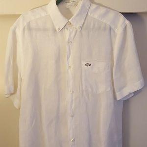 Lacoste Linen Button-front T-shirt Mens 40